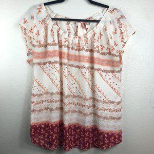 LC Lauren Conrad   Sheer Pink Floral Blouse